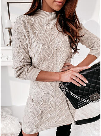 Solid Beaded Stand Collar Casual Long Tight Sweater Dress