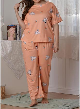 Poliéster Impresión Talla extra Cuello Redondo Manga Corta Conjunto de pijama
