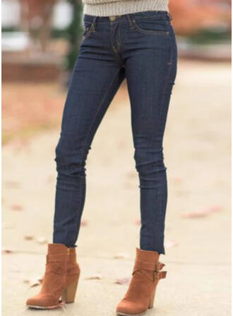 Solid Shirred Plus Size Casual Sexy Denim & Jeans