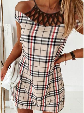 Plaid Short Sleeves Shift Above Knee Elegant Dresses
