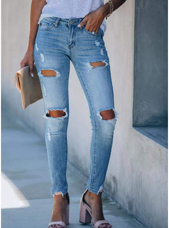 Shirred Plus Size Ripped Sexy Skinny Denim & Jeans