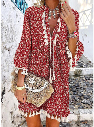 Print/Floral/Tassel 3/4 Sleeves/Flare Sleeves Shift Above Knee Boho/Vacation Tunic Dresses