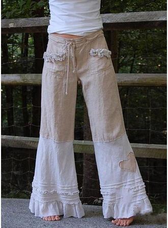 Bolsillos Fruncido Talla extra Largo Boho Largo Tribal Pantalones