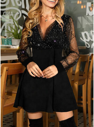Sequins/Solid Long Sleeves A-line Above Knee Little Black/Party Skater Dresses