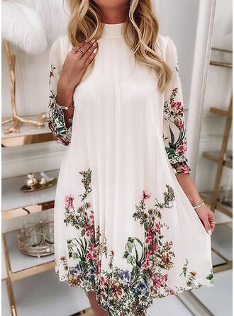 Print/Floral Chiffon 3/4 Sleeves Puff Sleeve Shift Above Knee Casual Tunic Dresses