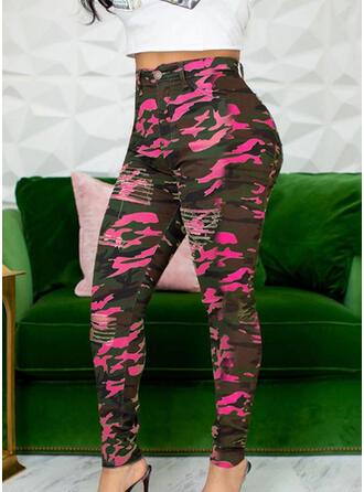 Rasgada Camuflaje Largo Casual Sexy Pantalones
