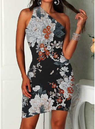 Print/Floral Sleeveless Sheath Above Knee Casual Dresses