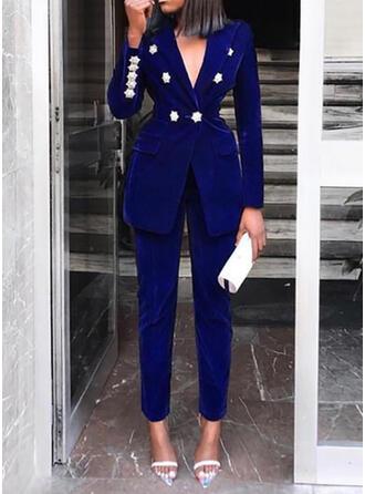 Solid Patchwork Elegant Vintage Suits