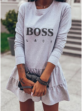 Print Long Sleeves Shift Above Knee Casual Sweatshirt Dresses