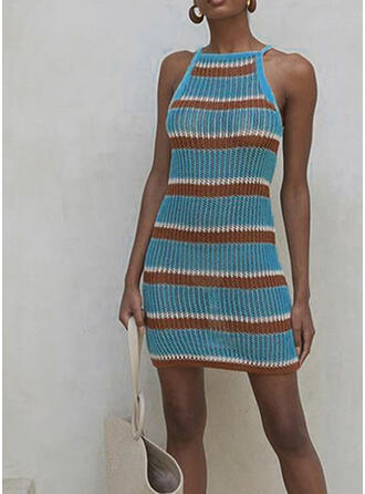 Striped Off the Shoulder Eye-catching Vacation Sporty Cover-ups Swimsuits