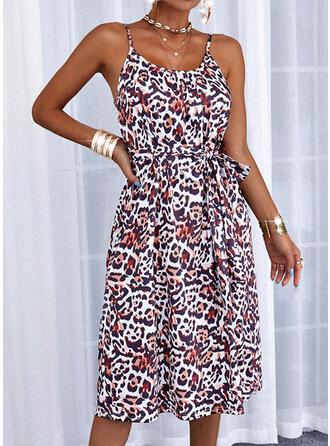 Leopard/Backless Sleeveless A-line Knee Length Casual Slip/Skater Dresses
