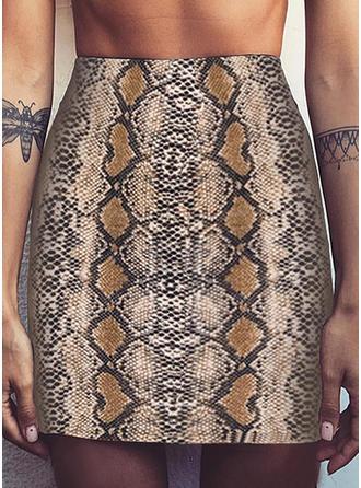 Polyester Animal Print Knee Length Pencil Skirts