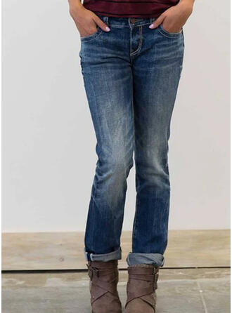 Shirred Plus Size Casual Vintage Denim & Jeans