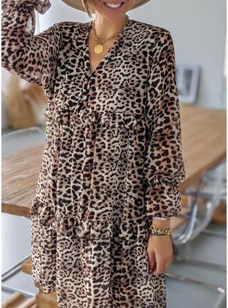 Leopardo Manga Larga Tendencia Sobre la Rodilla Casual/Vacaciones Vestidos
