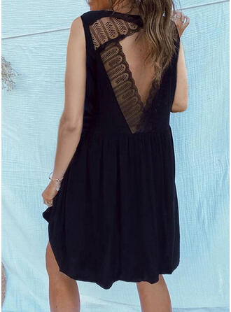 Lace/Solid/Backless Sleeveless Shift Above Knee Little Black/Casual Dresses