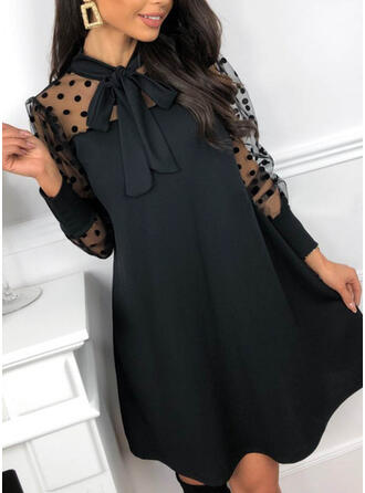 Solid/PolkaDot Long Sleeves/Puff Sleeves Shift Above Knee Little Black/Party Tunic Dresses