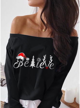 Print Figure Off the Shoulder Long Sleeves Casual Christmas Blouses