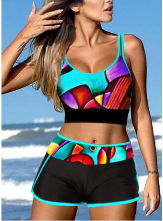 Print Geometric Strap U-Neck Plus Size Eye-catching Casual Bikinis Swimsuits