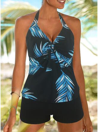 Leaves Print Round Neck Amazing Exquisite Novelty Luxury Tankinis Swimsuits