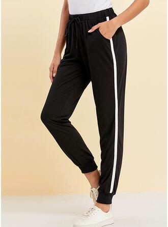 Bolsillos Fruncido Cordón Largo Casual Deportivo Pantalones