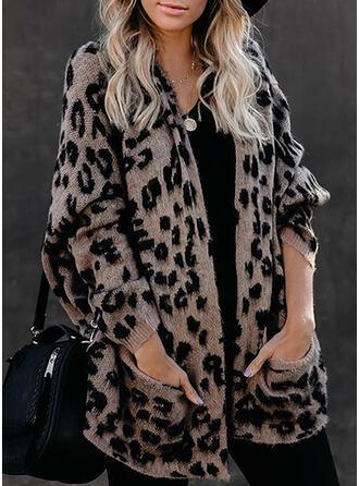 Bolsillos Leopardo Casuales Cárdigan