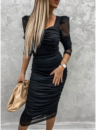Solid Long Sleeves/Puff Sleeves Bodycon Pencil Little Black/Party Midi Dresses