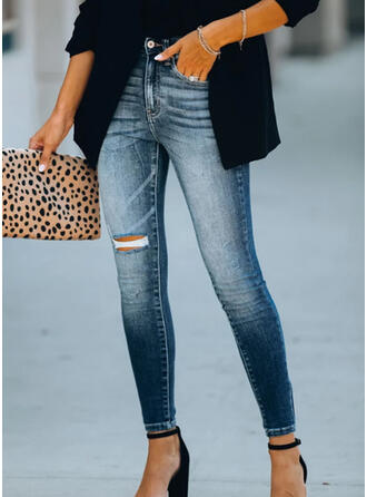 Shirred Ripped Elegant Sexy Skinny Denim & Jeans