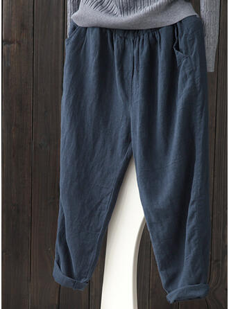 Pockets Shirred Plus Size Casual Solid Pants