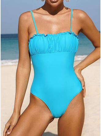 Ruffles Strap Beautiful Casual One-piece Swimsuits