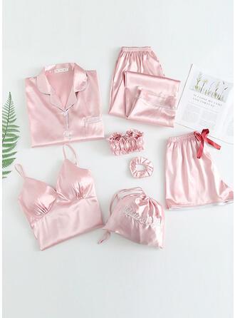 Satén Color sólido Floral Cabestro Manga Larga Sexy Cuello en V Seductor Conjunto de pijama