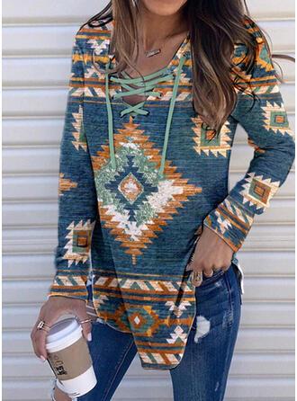 Print Hooded Long Sleeves Casual Blouses