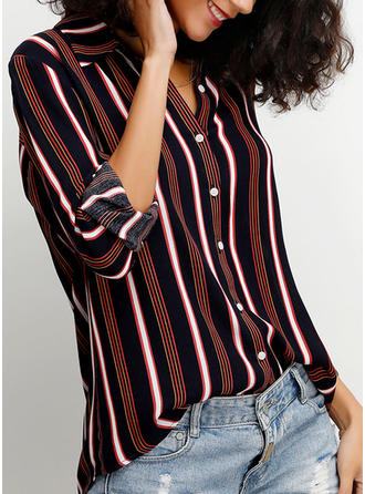 Striped Lapel 3/4 Sleeves Button Up Casual Shirt Blouses