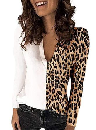 Bloque de color Leopardo Cuello en V Manga Larga Casual Blusas