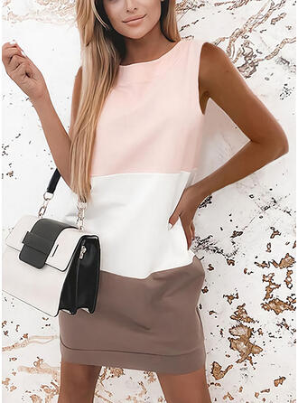 Color Block Sleeveless Shift Above Knee Casual Dresses