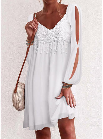 Lace/Solid Long Sleeves/Cold Shoulder Sleeve Shift Above Knee Casual/Vacation Tunic Dresses