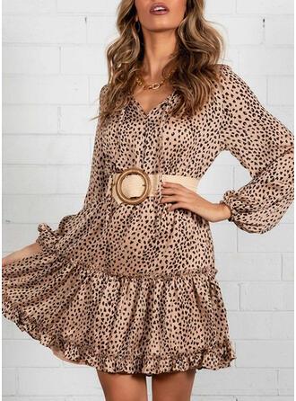 Leopardo Manga Larga Acampanado Sobre la Rodilla Casual Vestidos