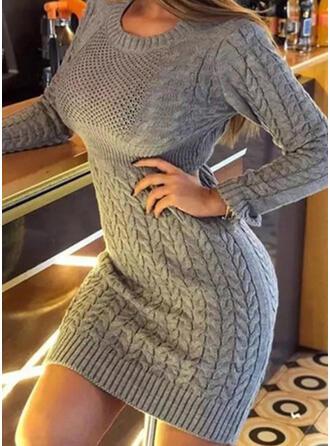 Sólido Punto De Cable Cuello Redondo Casuales Largo Vestido de Suéter