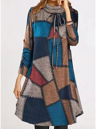Patchwork Long Sleeves Shift Knee Length Casual Tunic Dresses