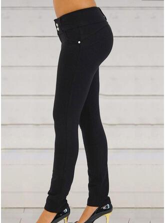 Patchwork Bolsillos Fruncido Largo Elegante Sexy Pantalones