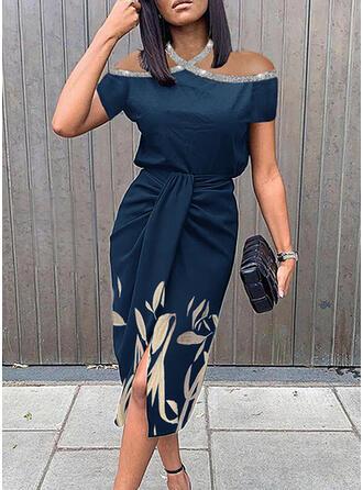 Print Sequins Short Sleeves Cold Shoulder Sleeve Sheath Knee Length Party/Elegant Dresses