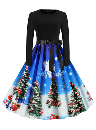 Impresión Manga Larga Acampanado Hasta la Rodilla Vintage/Navidad/Fiesta/Elegante Vestidos