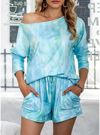 Poliéster Cuello Redondo Manga Larga Tie Dye Conjunto de pijama