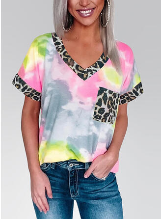 Leopard Tie Dye V-Neck Short Sleeves T-shirts
