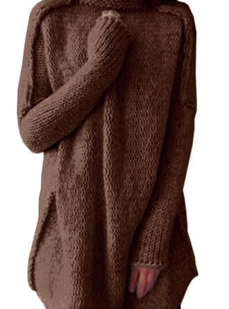 Sólido Cuello De Tortuga Casuales Largo Suelto Vestido de Suéter
