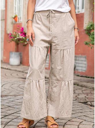 Patchwork Fruncido Largo Boho Elegante Llanura Pantalones