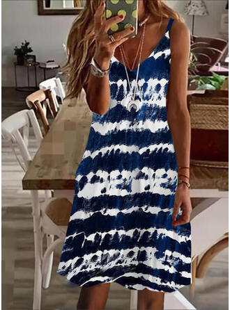 Tie Dye Sleeveless A-line Above Knee Casual/Vacation Slip/Skater Dresses