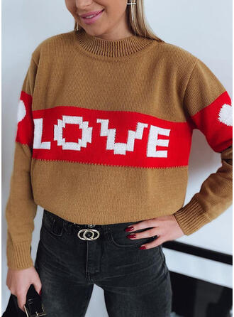 Print Color Block Round Neck Casual Sweaters