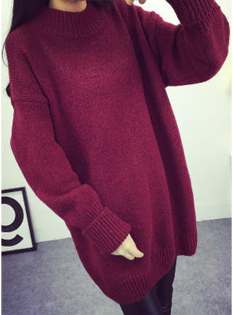 Sólido Cuello De Tortuga Casuales Suelto Vestido de Suéter