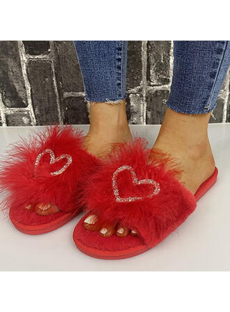 Women's Suede Flat Heel Peep Toe Slippers With Applique Faux-Fur shoes
