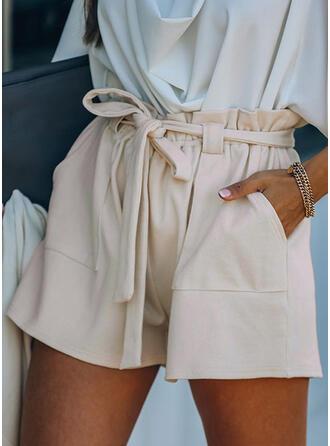 Plus Size Drawstring Elegant Solid Shorts